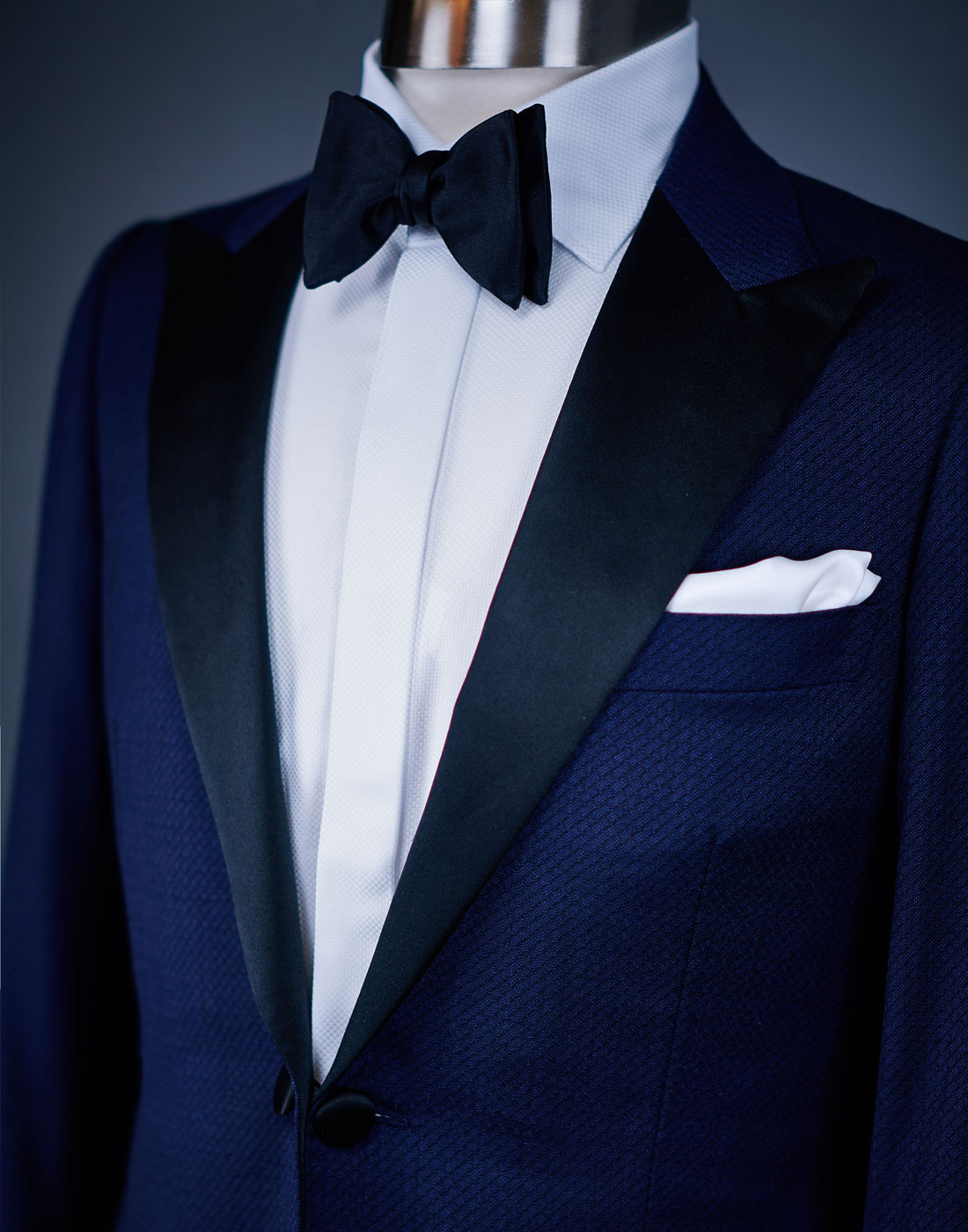 Men's bespoke tuxedo jacket with a bow tie