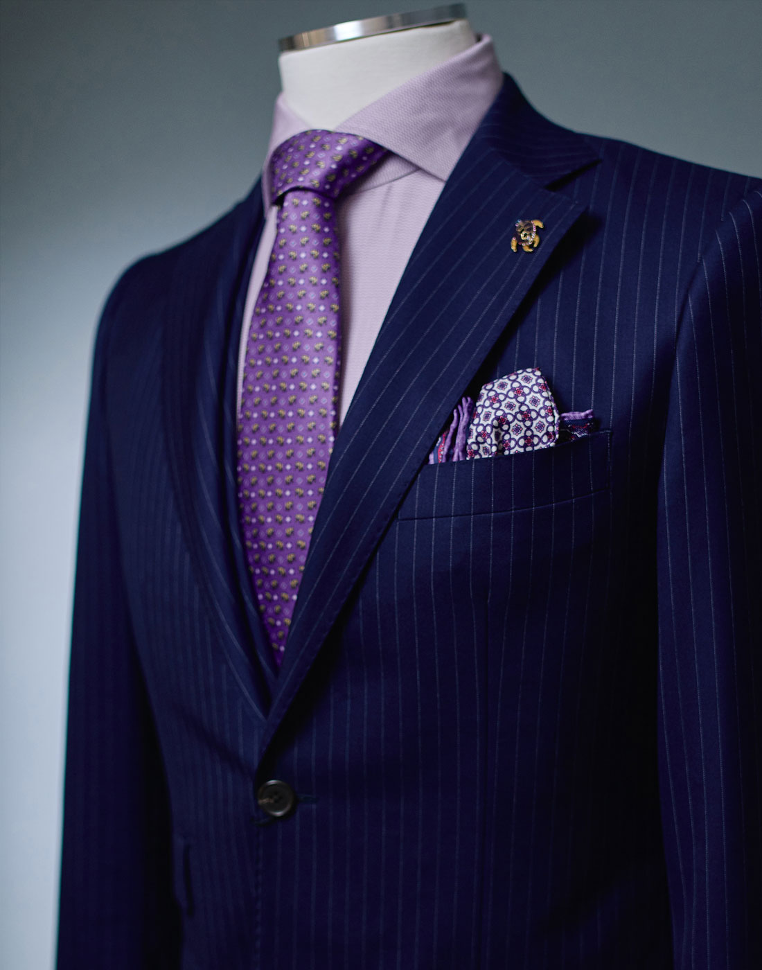 Men's pinstripe bespoke suit jacket