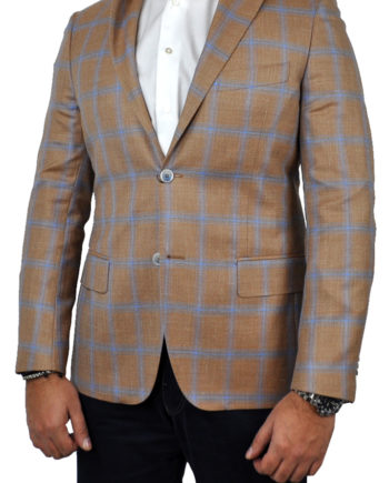 J.TOOR - Tailored Sport Jacket - VBC - Orange w Sky Blue windowpane