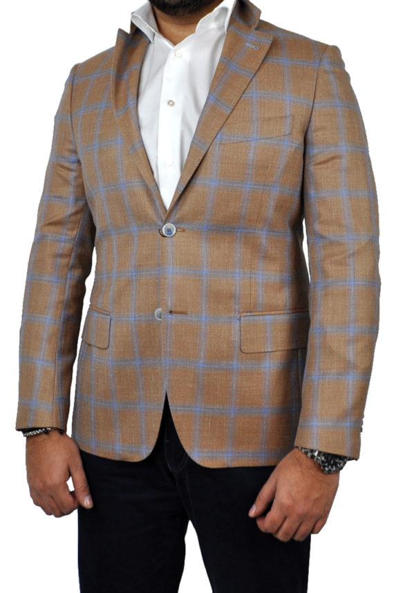 J.TOOR - Tailored Sport Jacket - VBC - Orange w Sky Blue windowpane