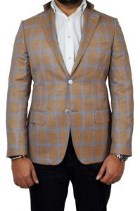 J.TOOR – Tailored Sport Jacket – VBC – Orange w Sky Blue windowpane 2