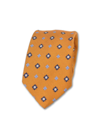 J.TOOR Neck Tie – Navy & Light Blue Medallions on Orange