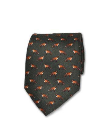 J.TOOR Neck Tie - Foxes on Hunter Green