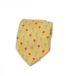 J.TOOR Neck Tie –Fuschia & Light Blue Flowers on Gold