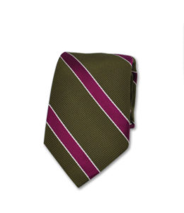 J.TOOR Neck Tie – Fuschia Stripe on Olive