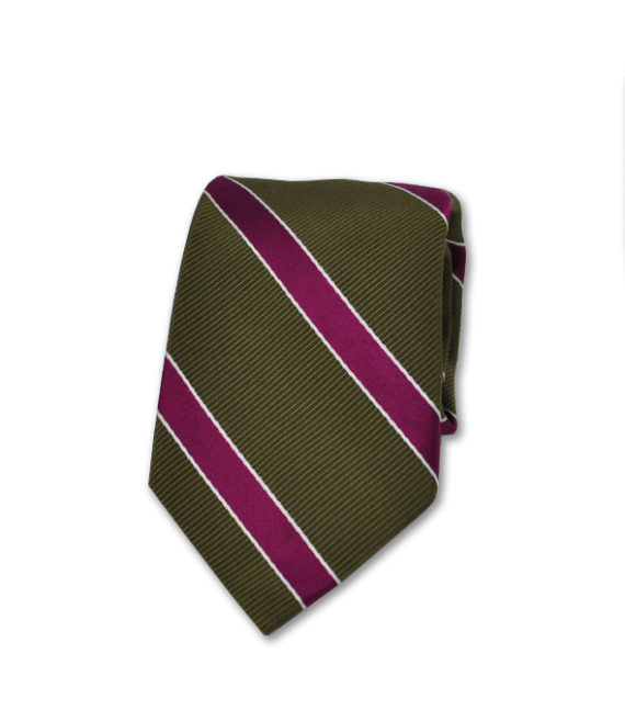 J.TOOR Neck Tie - Fuschia Stripe on Olive