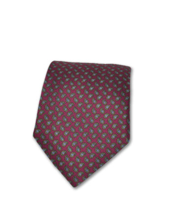 J.TOOR Neck Tie - Gold & Grey Paisley on Burgundy