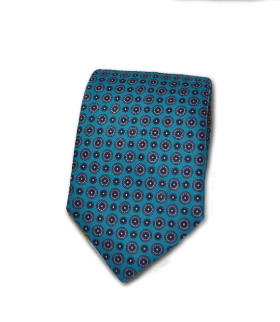 J.TOOR Neck Tie - Gold & Light Blue Medallions on Teal