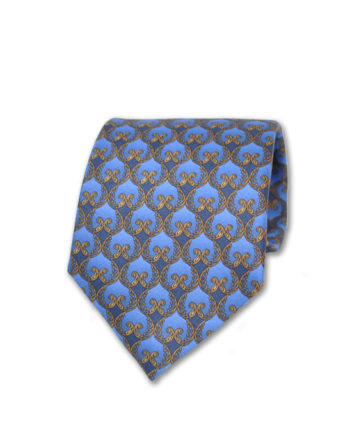 J.TOOR  Neck Tie -  Gold Ornate Trellis on Blue