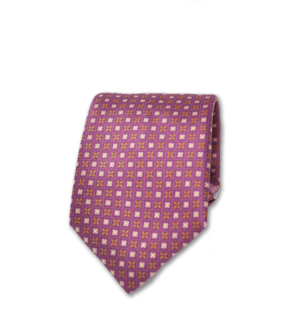 J.TOOR Neck Tie - Gold & Pink Pines on Pink