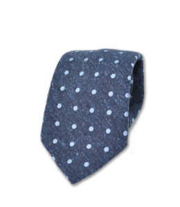 J.TOOR Neck Tie – Light Blue Dots on Denim Blue