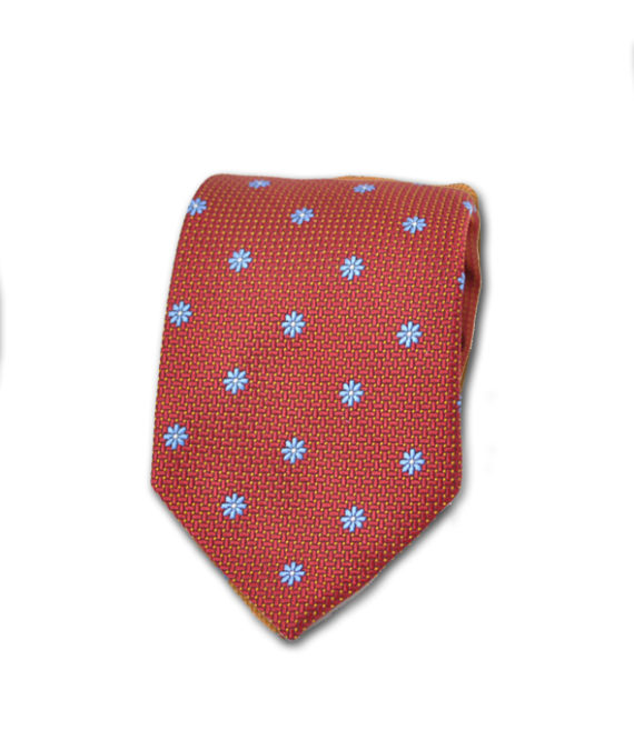 J.TOOR  Neck Tie -  Light Blue Flowers on Red