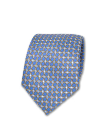 J.TOOR Neck Tie - Light Blue & Gold Diamonds on Blue