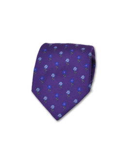 J.TOOR Neck Tie – Light Blue & Indigo Flowers on Purple