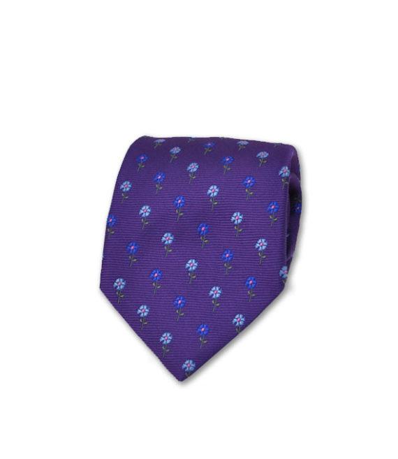 J.TOOR Neck Tie - Light Blue & Indigo Flowers on Purple
