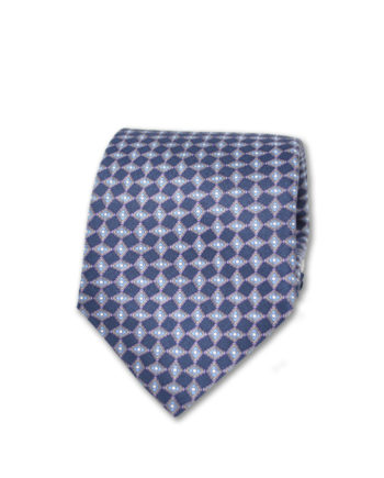 J.TOOR Neck Tie - Light Blue & Lavender Diamonds on Navy