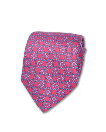 J.TOOR  Neck Tie -  Light Blue Links on Fuschia