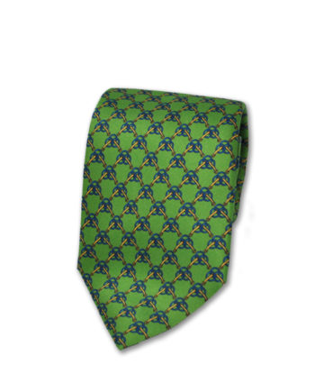 J.TOOR Neck Tie - Light Blue & Yellow Links on Lime Green