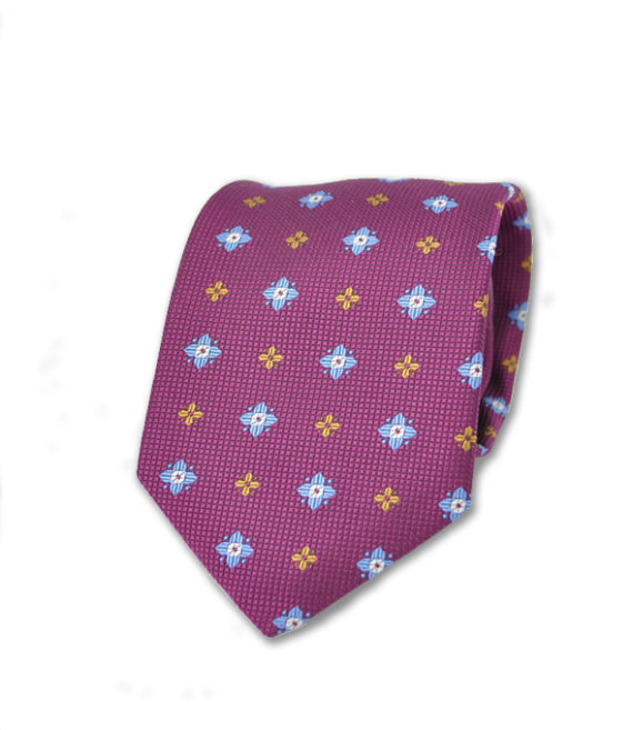 J.TOOR Neck Tie - Light Blue and Gold Flowers on Purple