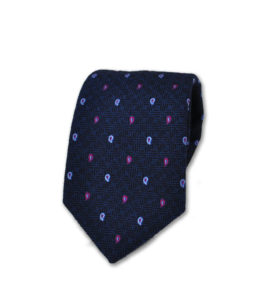 J.TOOR Neck Tie – Light Blue and Purple Paisley on Navy