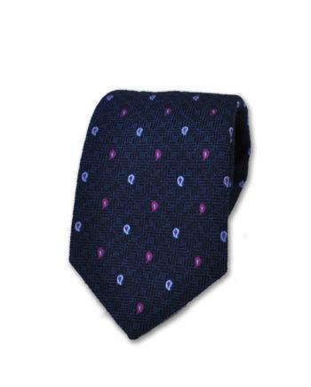 J.TOOR Neck Tie - Light Blue and Purple Paisley on Navy 100% Silk