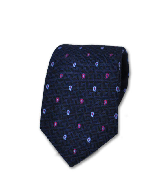 J.TOOR Neck Tie - Light Blue and Purple Paisley on Navy 100% Silk