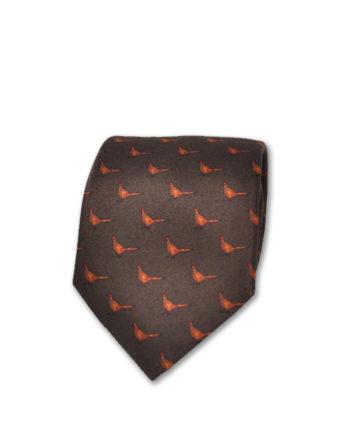 J.TOOR Neck Tie - Pheasants on Brown