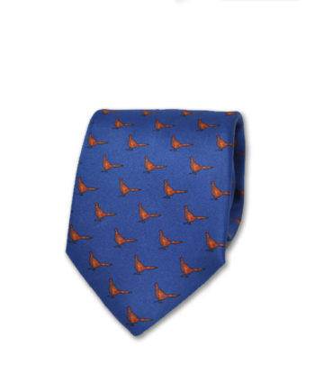 J.TOOR Neck Tie - Pheasants on Cobalt Blue