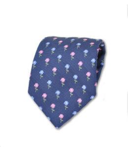 J.TOOR Neck Tie –Pink & Light Blue Flowers onNavy