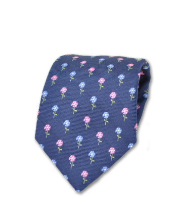 J.TOOR  Neck Tie - Pink & Light Blue Flowers on Navy