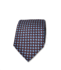 J.TOOR Neck Tie – Silver & Light Blue Diamonds on Brown