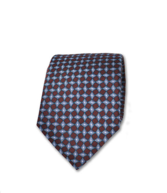 J.TOOR Neck Tie - Silver & Light Blue Diamonds on Brown