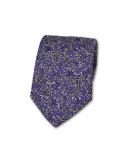 J.TOOR Neck Tie – Silver & Purple Paisley