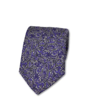 J.TOOR Neck Tie - Silver & Purple Paisley