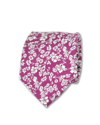 J.TOOR  Neck Tie -  White Flowers on Fuschia