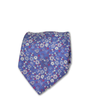 J.TOOR Neck Tie - White & Fuschia Flowers on Purple