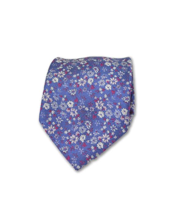 J.TOOR Neck Tie - White & Fuschia Flowers on Purple