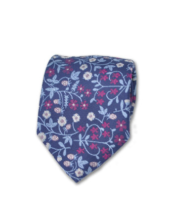 J.TOOR Neck Tie - White, Light Blue & Fuschia Flowers on Navy