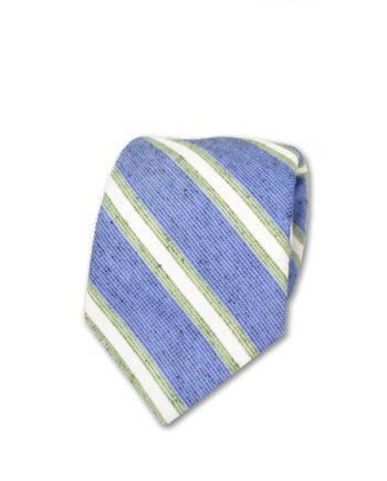 J.TOOR Neck Tie - White & Sage Stripes on Light Blue