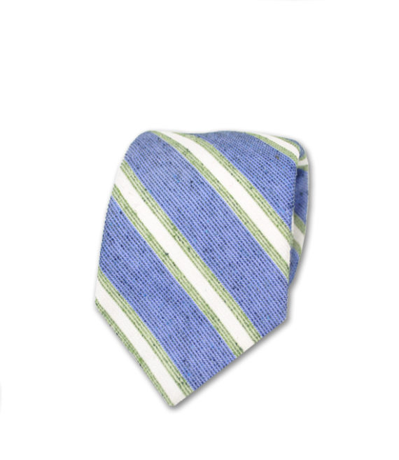 J.TOOR Neck Tie - White & Sage Stripes on Light Blue