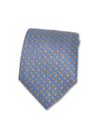 J.TOOR  Neck Tie -  Yellow & Silver Paisley on Light Blue