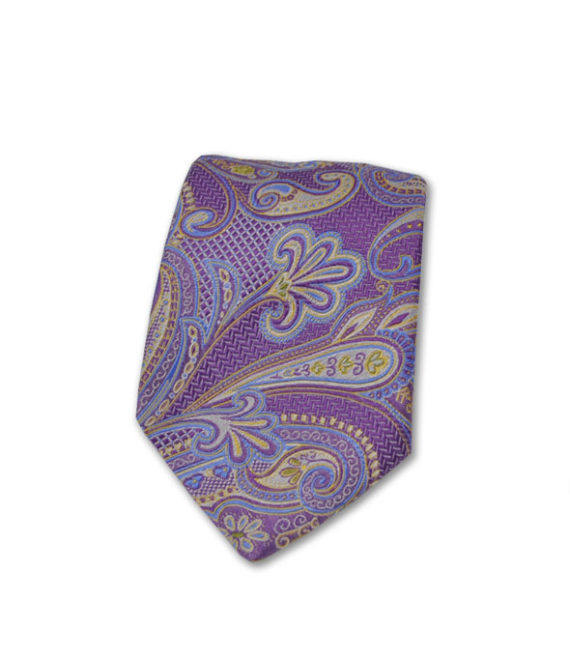 Marchesi di Como - Neck Tie - Light Blue, Silver & Purple Paisley