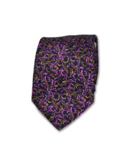 Santo Stefano – Neck Tie – Gold & Purple Leaves