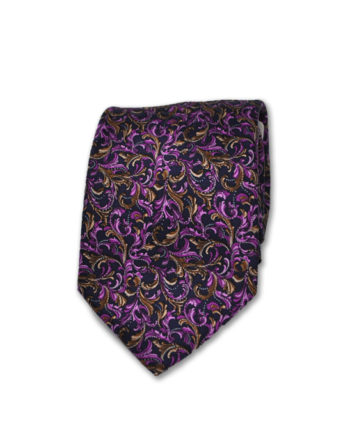 Santo Stefano - Neck Tie - Gold & Purple Leaves