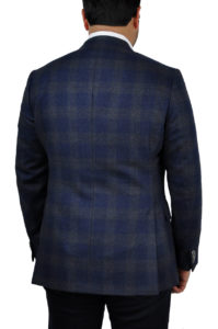 J.TOOR Tailored Sport Jacket – Loro Piana – Navy w/ Dark Brown Plaid