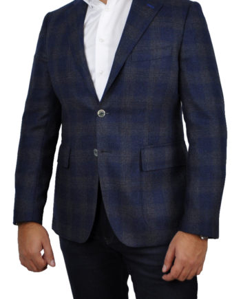 J.TOOR Tailored Sport Jacket - Loro Piana - Navy w/ Dark Brown Plaid