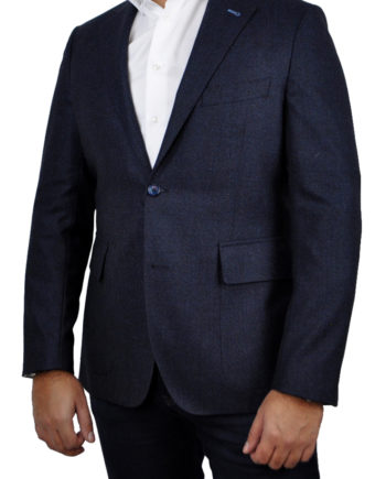 J.TOOR Tailored Sport Jacket - Loro Piana Wool - Dark Blue Diamond Jacquard