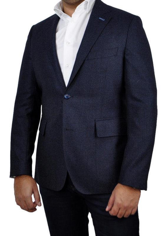J.TOOR Tailored Sport Jacket - Loro Piana Wool - Dark Blue Diamond Jacquard