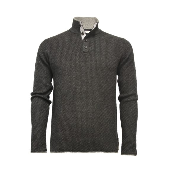 Hommard - Andromeda Wool/Yak/Cashmere 1/4 Button - Charcoal