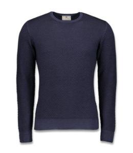 J.TOOR Knit – Navy Superfine Wool Crew Neck Sweater, Popcorn Stitch